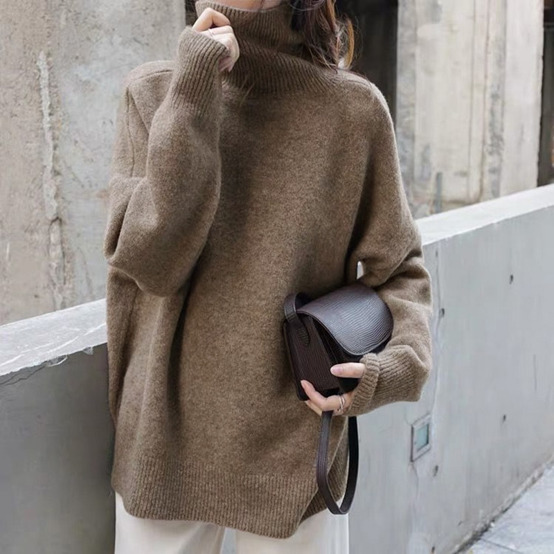 Женские свитера с высоким воротником, теплые свободные свитера в Корейском стиле, женская одежда, зима 2021
