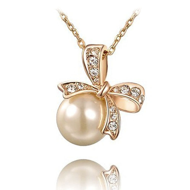 2020 New Popular Ruili Wind Bow xiang ya and Pearl Necklace Women's Necklace