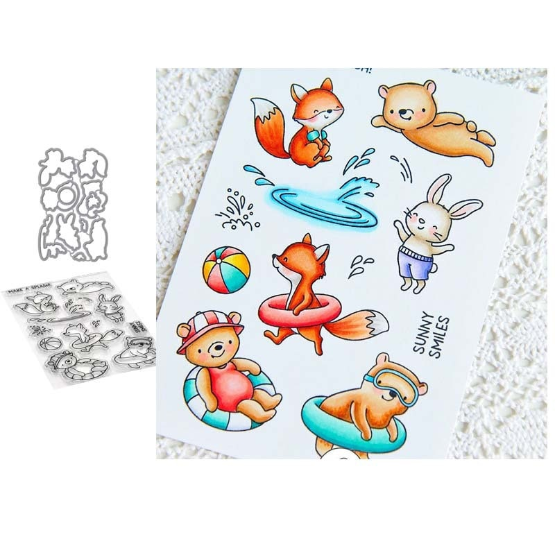 Cutting Dies With Clear Stamp Of Summer trip Little bear Handbooking Set dIY Scrapbooking Paper Embossing Stencil Painting Seal
