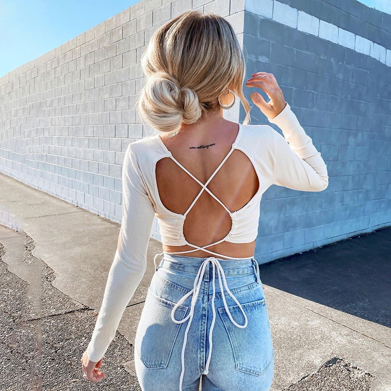 Women O-Neck Long Sleeve T Shirt Ladies Backless Bandage Crop Top Casual Slim Tees Solid Tops Summer Clothes For Women Camisetas new summer women tees ladies simple pullover tops korean solid o neck casual slim knitted short sleeve top