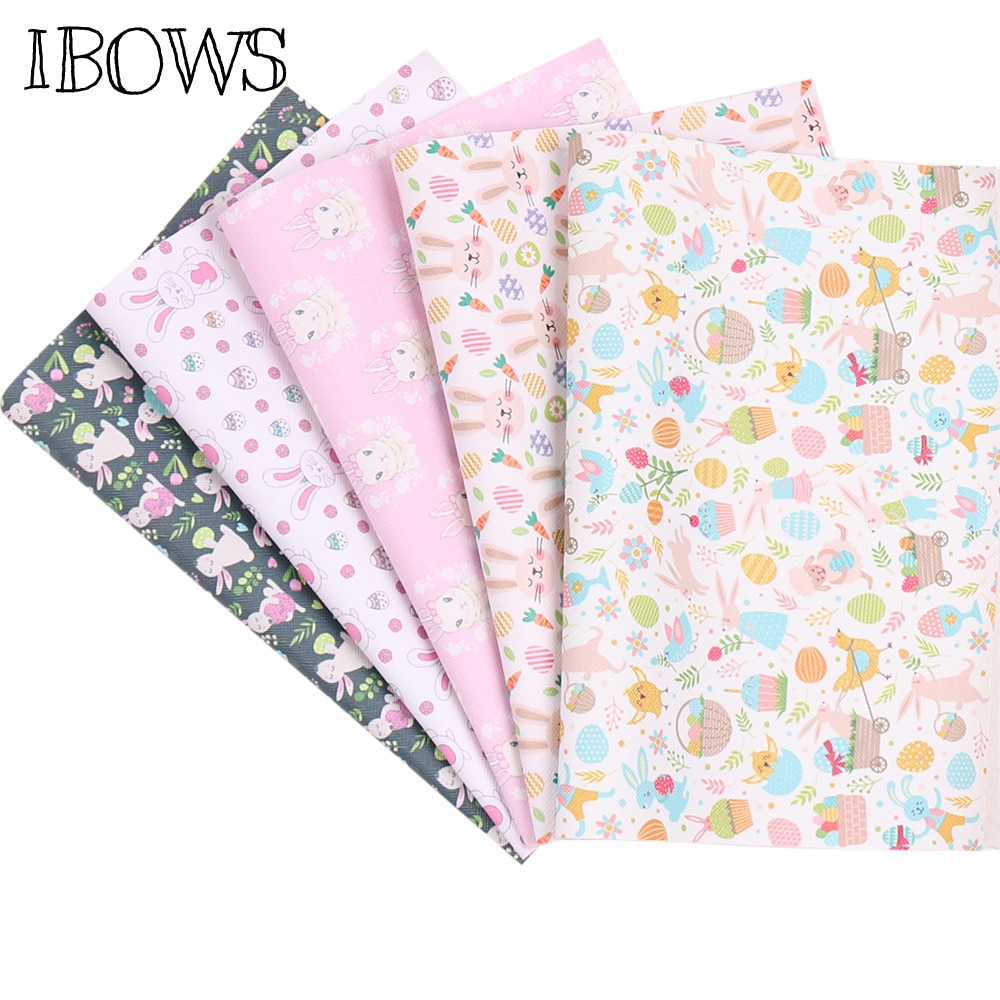 IBOWS 22*30cm 1pc Easter Faux Synthetic Leather Sheet Rabbit Egg Printed Fabric DIY Hair Bows Suppli