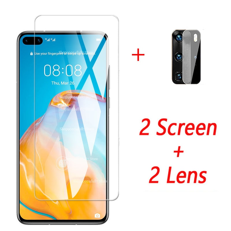 4 in 1 camera lens tempered Glass For huawei p40 5G 2020 safety armor screen protector protective p4