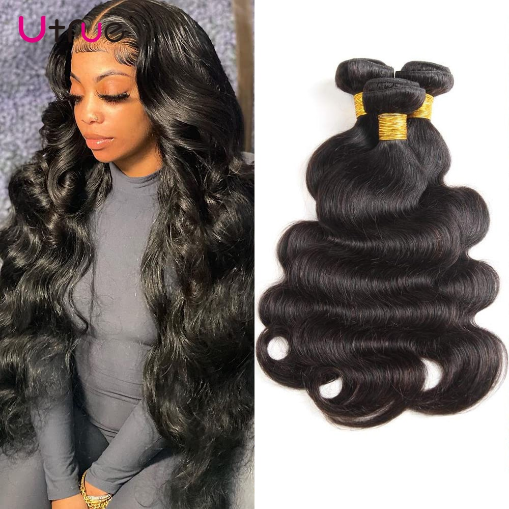 Utrue Human Hair Natural Black Body Wave Wholesale Remy Thick Brazilian Hair Weave 30 Inch Bundles