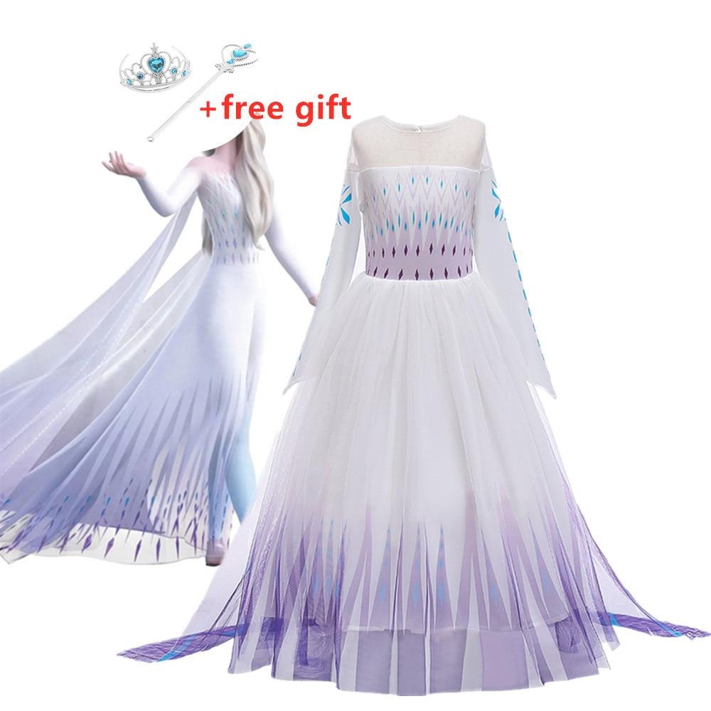 New Cosplay Princess Girl Dresses 2 Elsa Anna Dresses for Girls Festival Party Girls Dress Snow Queen Fantasy Baby Costume