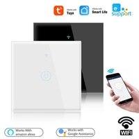 Interrupteur mural tactile intelligent TUYA  1 2 3 voies  wi-fi  110-250V  Smart Life  commande a distance avec Alexa Google Home Assistant  EU 1 2 3