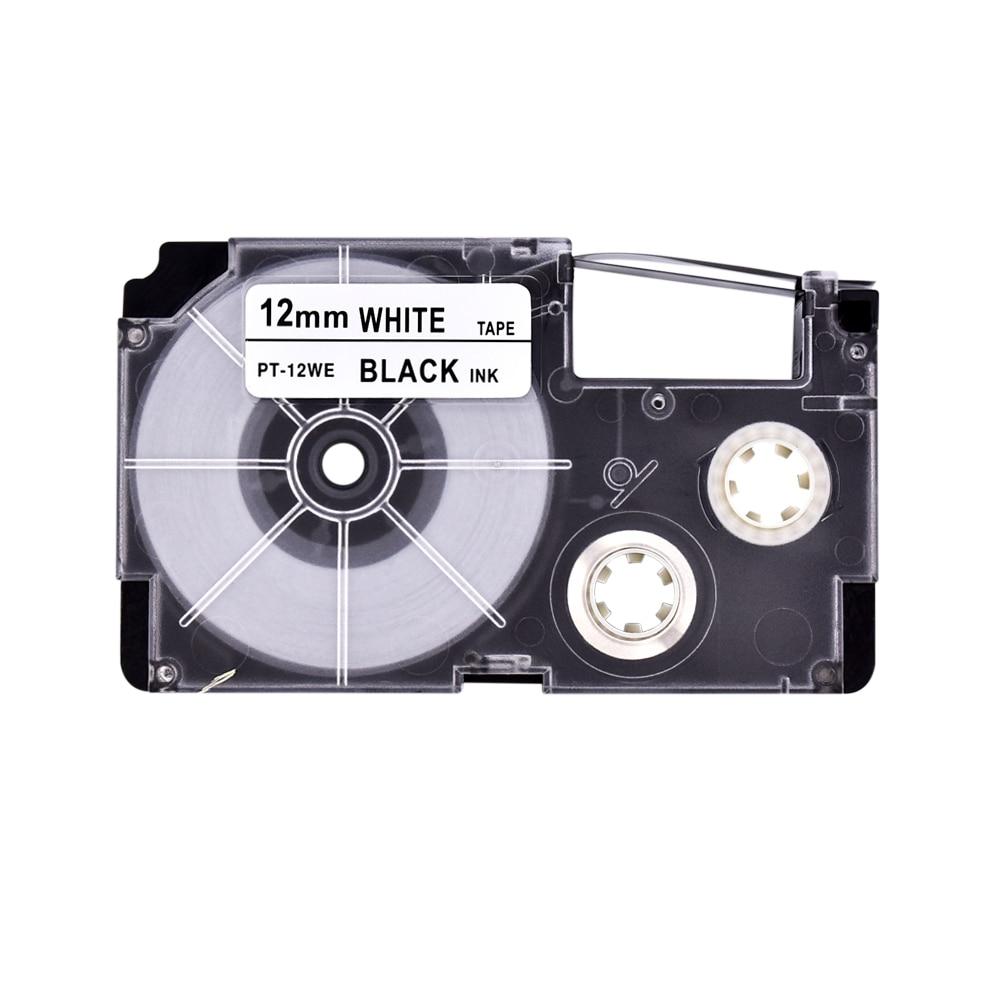 PUTY Compatible 5PCS Black on White  xr-12we/PT 12WE  label tapes 12mm*8M black on white printer ribbon