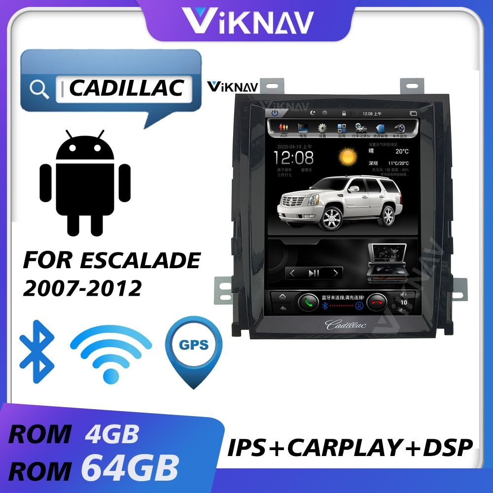 for cadillac escalade 2007 2008 2009 2010 2011 2012 android car radio multimedia player stereo tape recorder head unit screen