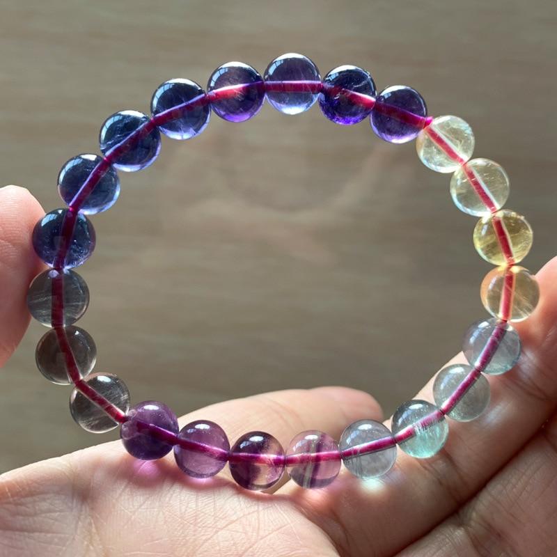 Pulsera de fluorita Natural Color fluorita círculo único en polvo Color púrpura azul mezcla mil capas de adornos de cristal de fluorita