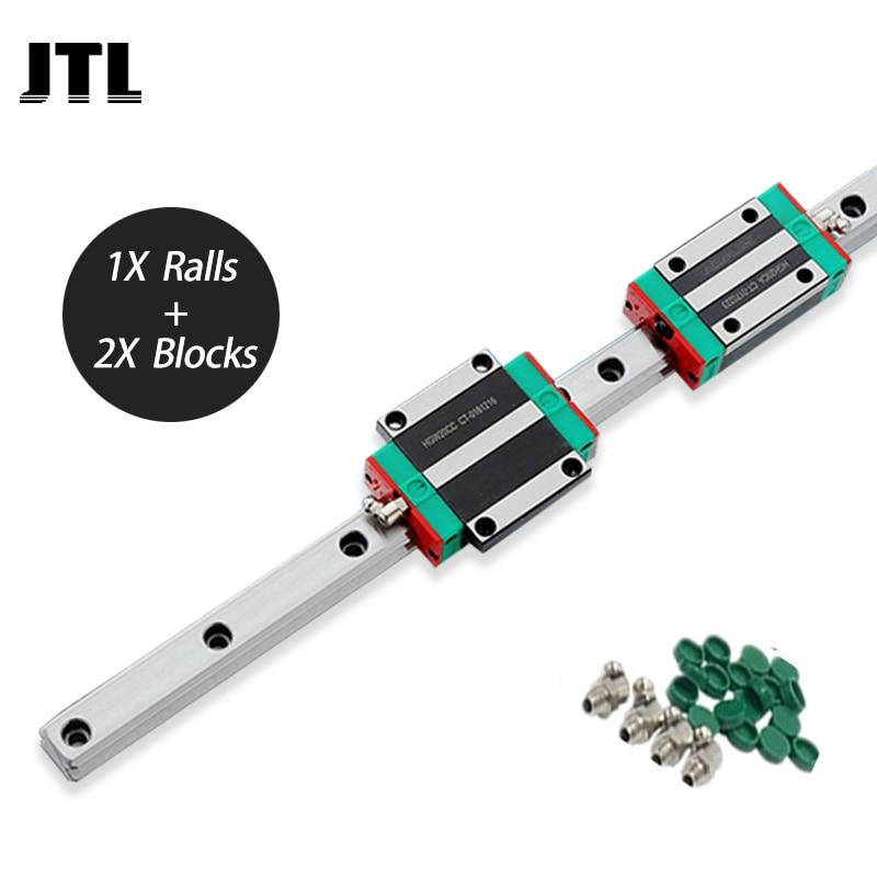 Carril guía lineal HGH25 de 25mm de ancho + 2 uds de bloque deslizante HGH25CC para piezas de mesa cnc xy
