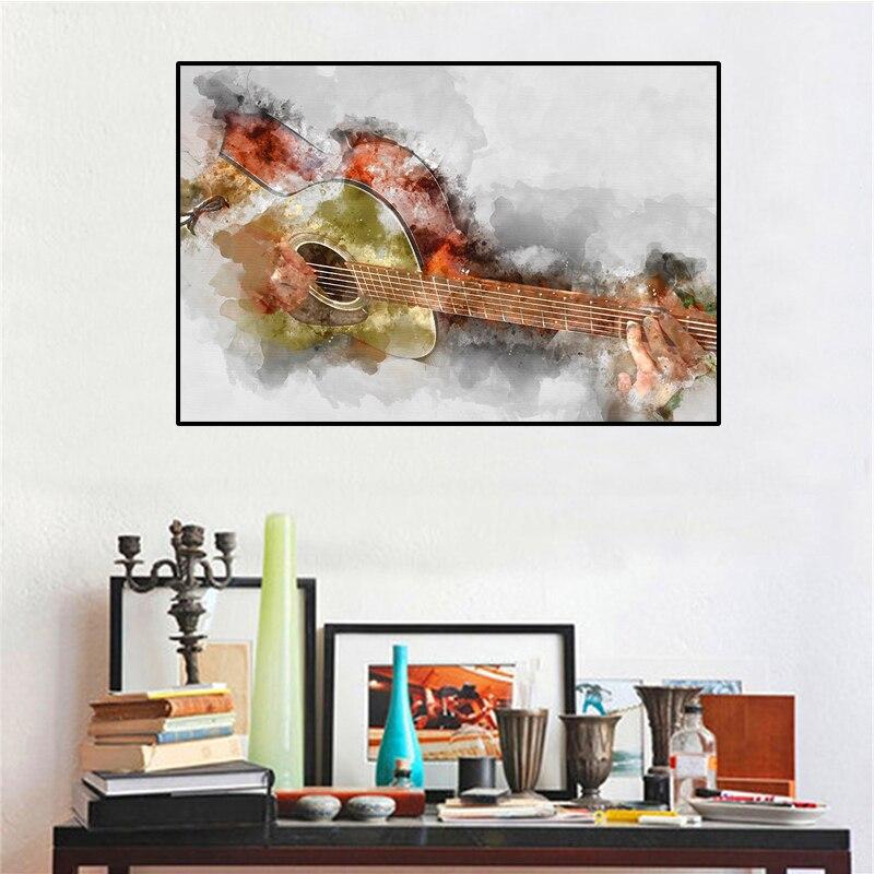 Современные картины на холсте с изображением гитары, настенные абстрактные картины на холсте, плакаты, картины с изображением играющей гит...