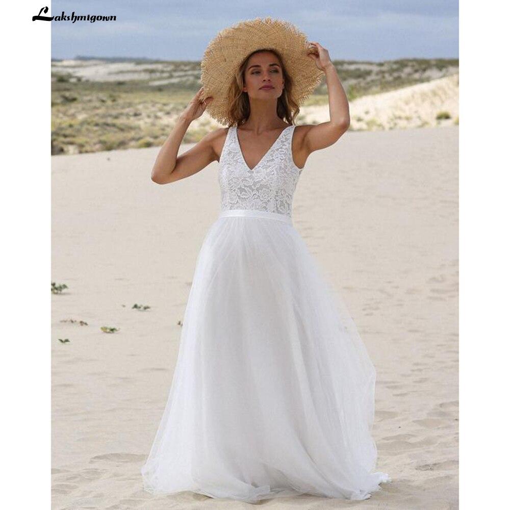 Vestidos de novia bohemios de encaje con escote en V, Espalda descubierta,...