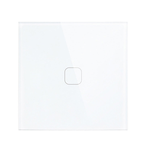 EU standard Touch switch white crystal glass panel light switch Ac230v switch 1gang 1 way wall lamp touch switch