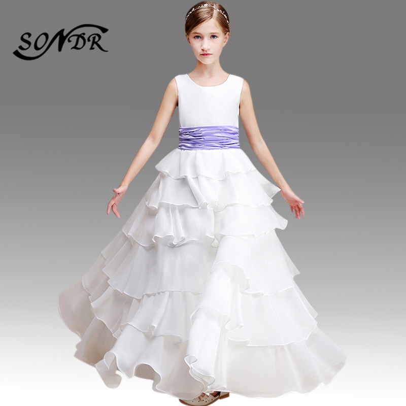 Flower Girl Dresses White HT115 O-neck Sleeveless Floral Little Girls Pageant Dress Tiered Ball Gowns Costumes Elegant