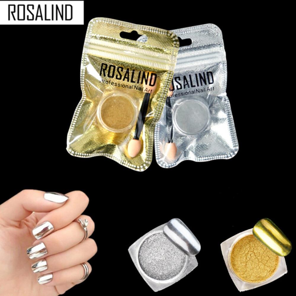 ROSALIND DIY Women Mirror Powder Effect Chrome Nails Pigment Gel Polishing Rose Gold Sliver Accessor