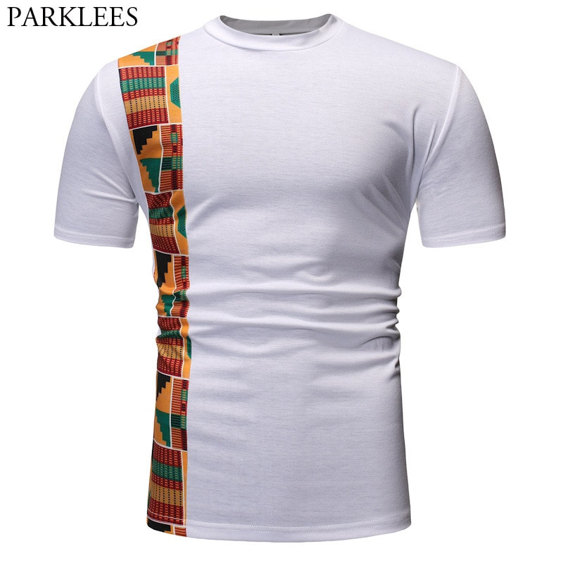 Patchwork blanco Dashiki camiseta hombres 2020 estilo Ankara Camisetas de manga corta de los hombres de Hip Hop Hipster Africana Ropa Camisetas