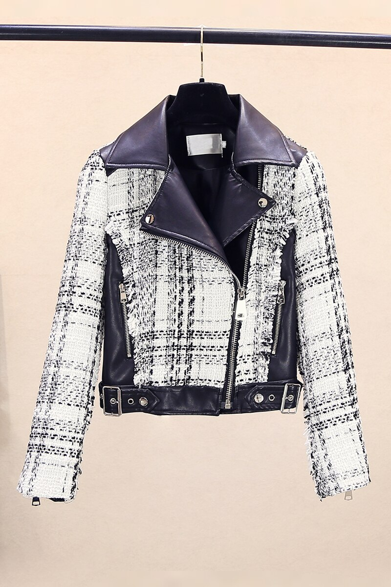 leather women 2020 Korean splice short wash PU jacket  leather blazers women leather blazers women learher coats biker jacket enlarge