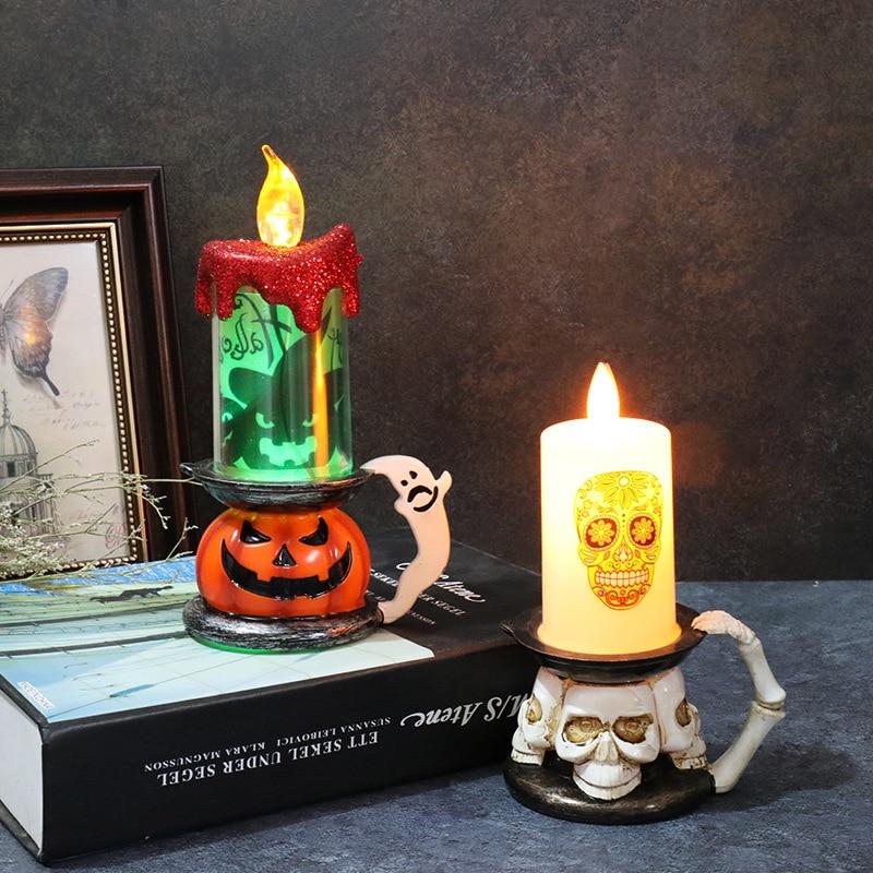 Luz LED de Halloween con diseño de bruja, calabaza, fantasma, decoración de Halloween para el hogar, lámpara de vela LED con diseño de Calavera, suministros para fiesta de terror y Halloween