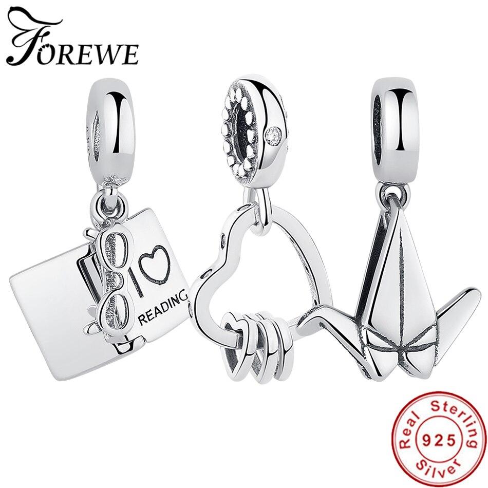 Настоящее серебро 925 пробы, очаровательные сердца, подходят для оригинального браслета Pandora, ожерелье, модные DIY ювелирные изделия, я люблю ч...