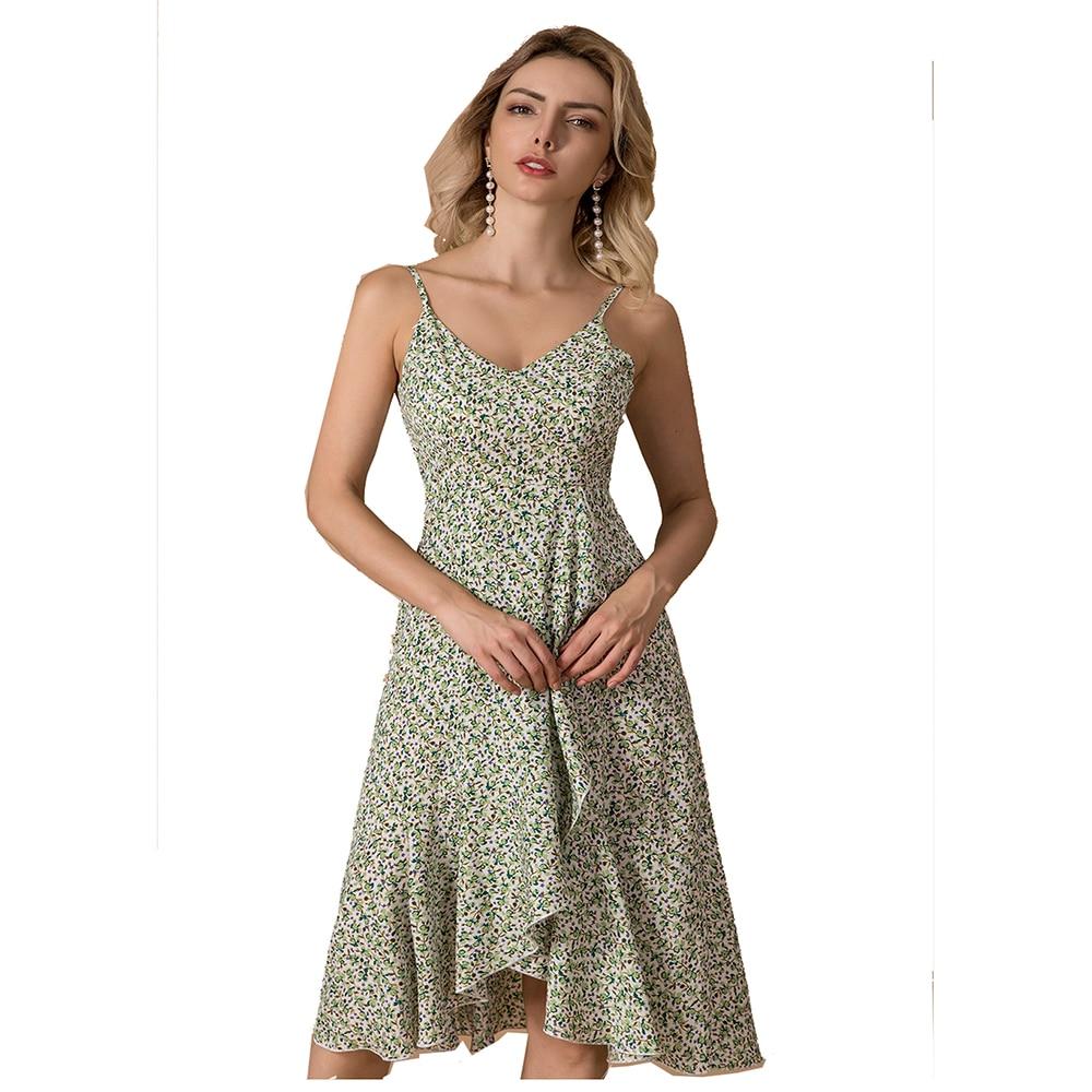 Zogaa marca magro casual vestido de praia feminino sem costas assimétrico vestido de verão 2020 sexy senhora floral vestido