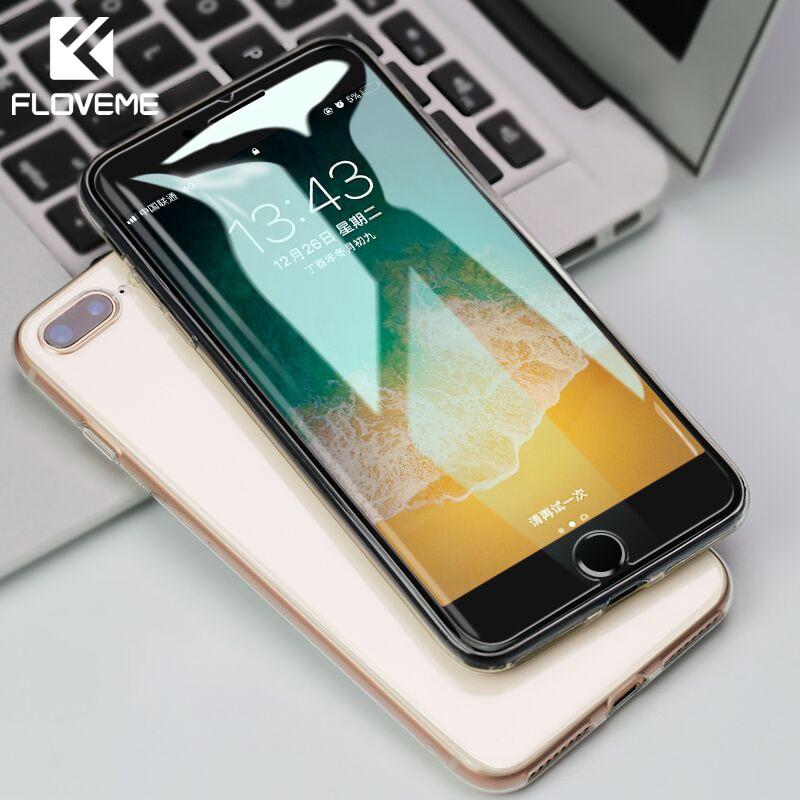 Vidrio Templado Protector FLOVEME para iPhone 7 Plus X XR XS Max 9H, cristal Protector de pantalla para iPhone 5 5S 5C SE 6 6S 8 Plus