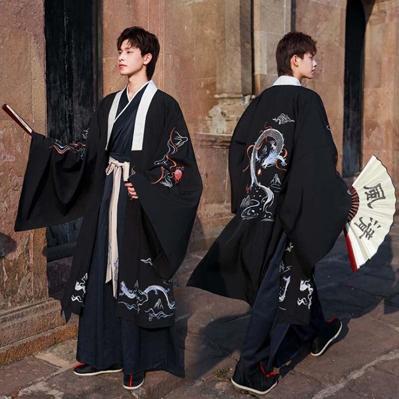 زي كرنفال هانفو الصيني القديم للرجال ، زي كرنفال الهالوين ، سترة سوداء ، مقاس كبير 4XL