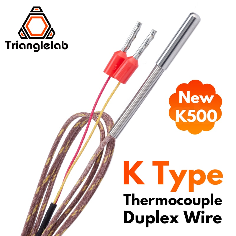 Trianglelab T-K500 Thermocouple sensor 500℃ PEI PEEK high temperature 3D printing  for volcano E3D V6 HOTEND Temperature Sensor