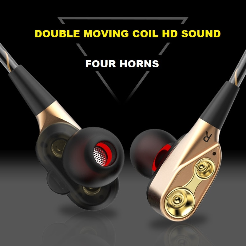 Wired In-ear Game Music Headphones with Double Moving Coil 4 Horns HD Sound HIFI Tone With MIC Earplugs Heavy Bass Headphones enlarge