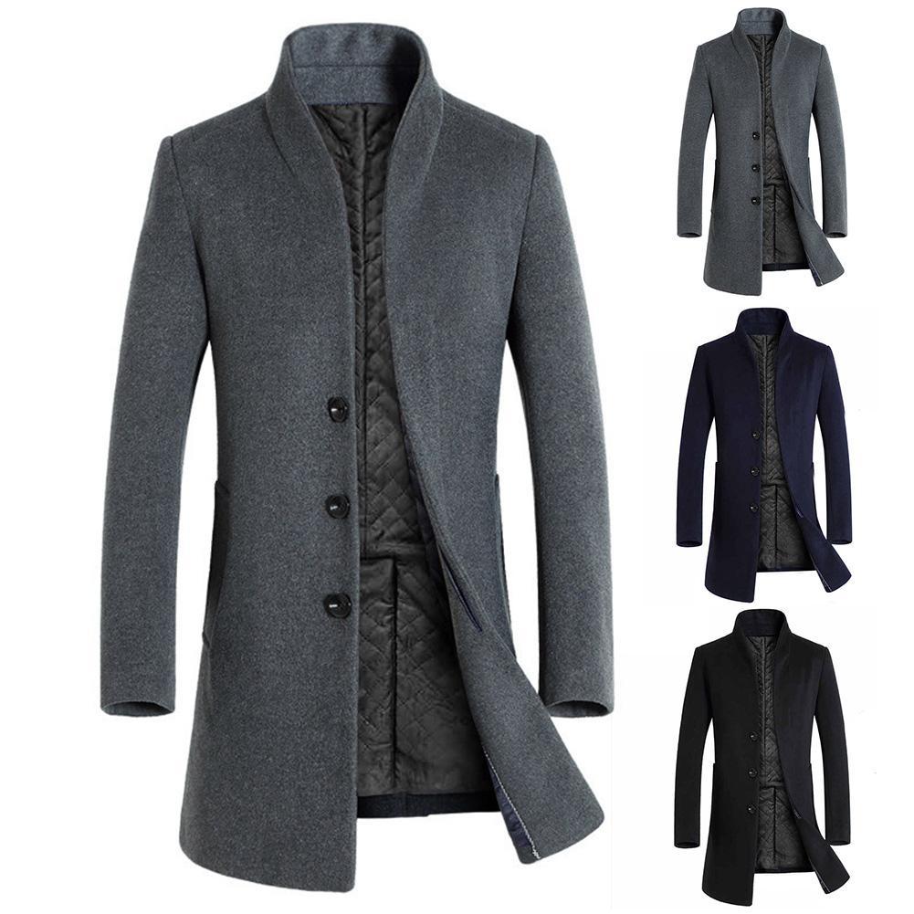 Men Winter Long Sleeve Stand Collar Buttons Pockets Warm Woolen Trench Coat