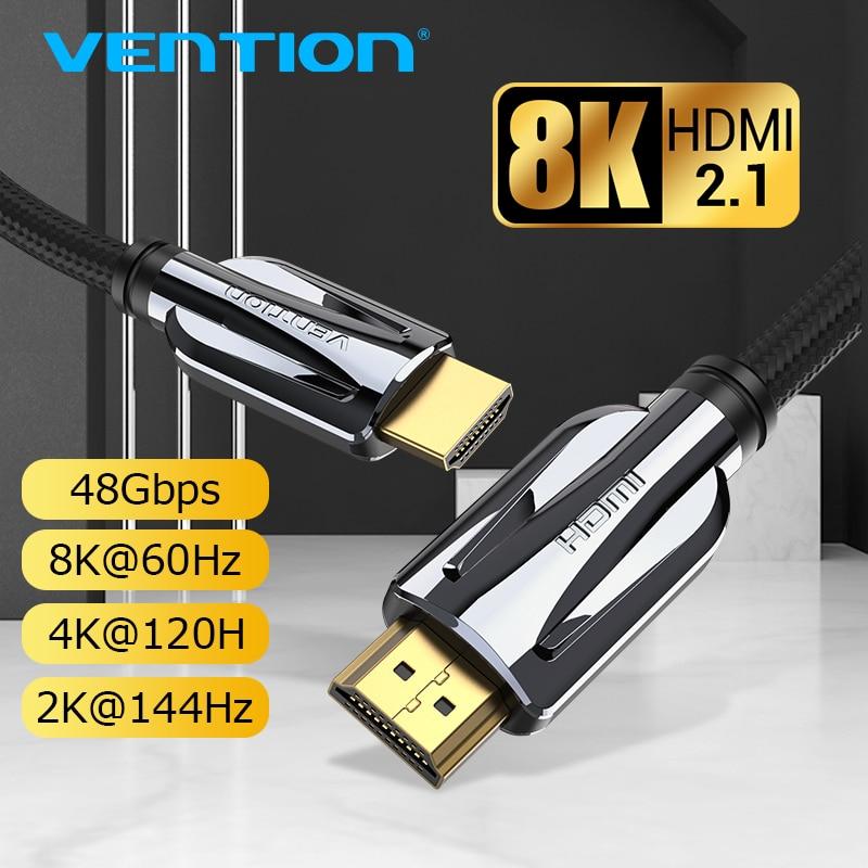 Vention HDMI 2.1 câble 8k 60Hz 4K 120Hz 3D haute vitesse 48Gbps câble HDMI pour PS4 répartiteur boîtier de commutation Extender vidéo 8K HDMI câble
