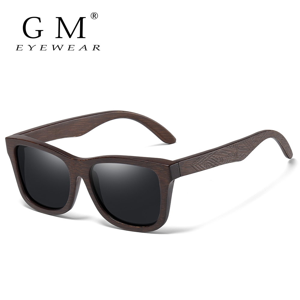 GM Retro Fashion Bamboo Wood Polarized Sunglasses Driving Square Style Sun Glasses Male Goggle UV400