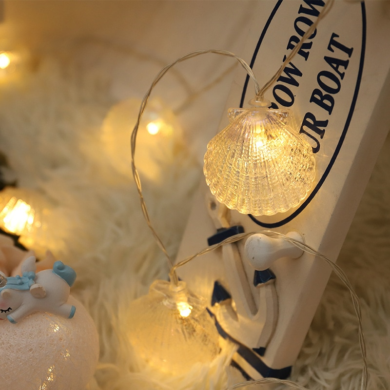 String lights LED shell lights curtain lights indoor outdoor home window decoration Christmas tree decoration lights 1pcs