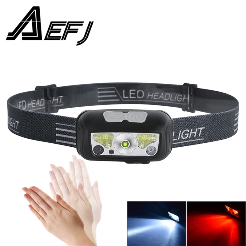 AliExpress - Mini Rechargeable LED Headlamp Body Motion Sensor white red light Built in battery Headlight Camping Flashlight Head Torch Lamp