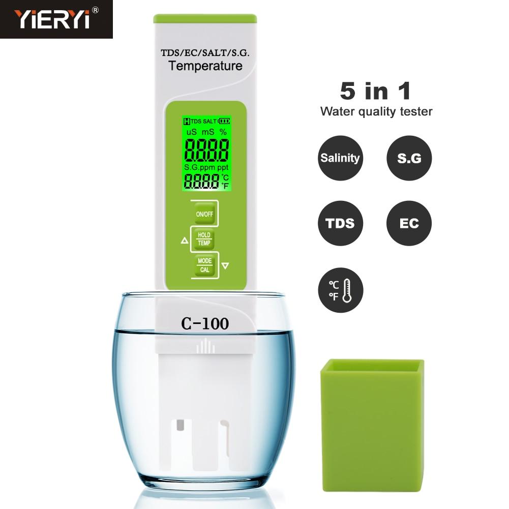 Yieryi 5 in 1 TDS/EC/Salinity/S.G./Temperature Meter Digital Water Quality Tester for household, Pools, Drinking Water, Aquarium недорого