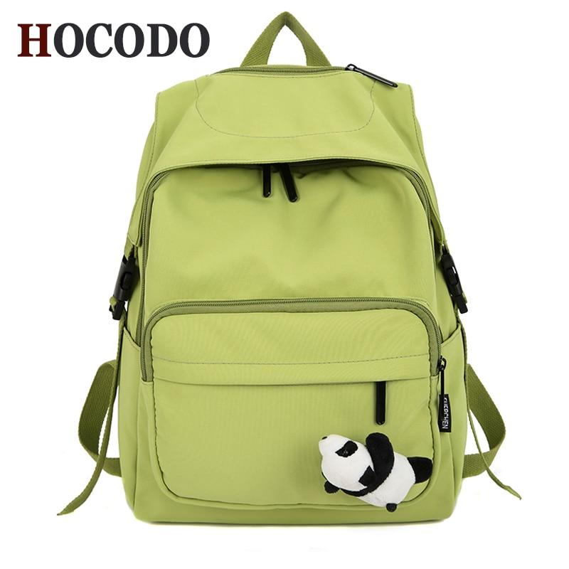 HOCODO Solid Color Simple Female Backpack Waterproof Nylon Women Backpack Stylish Multi-Pocket Schoolbag For Teenage Girls 2020