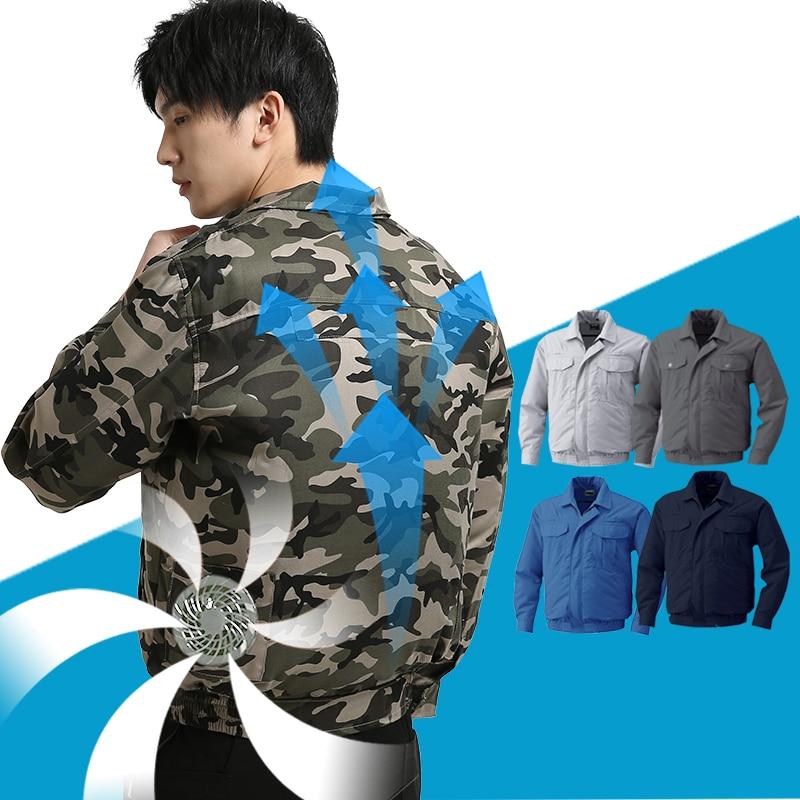 Chaqueta de hombre, ropa de pesca, ventilador eléctrico de refrigeración, ropa anti-golpes, soldador de refrigeración de carga a prueba de trabajo, ropa