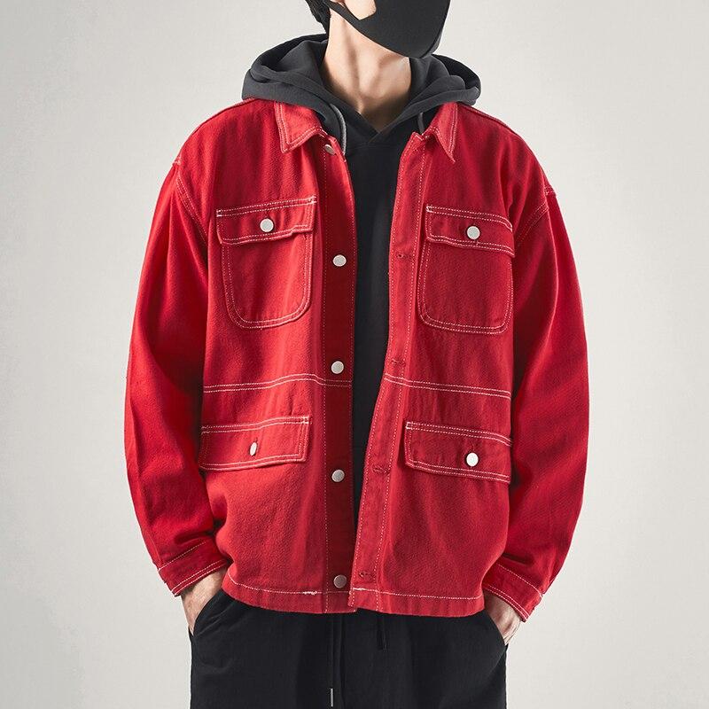 New Korean Fashion Clothes Punk Streetwear Male Vintage Autumn Oversized Loose Jacket Mens Casual De