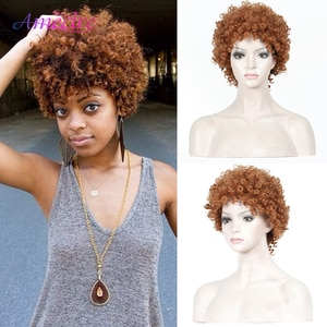 Afro Wigs For Black Women Synthetic Short Kinky Curly Full Wigs  Heat Resistant Wigs For African Women With Wig Cap