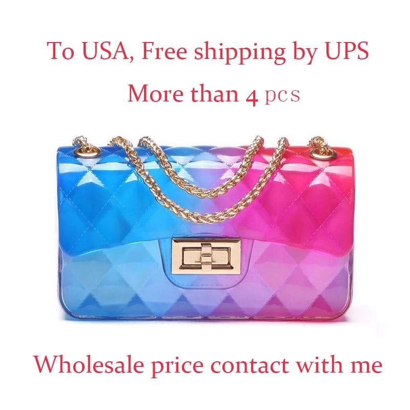 Clear Transparent Pvc Lingge Chain Jelly Bag Lady Handbag Candy Color Gradient Crossbody Bag For Women Mini Shoulder Bag Clutch