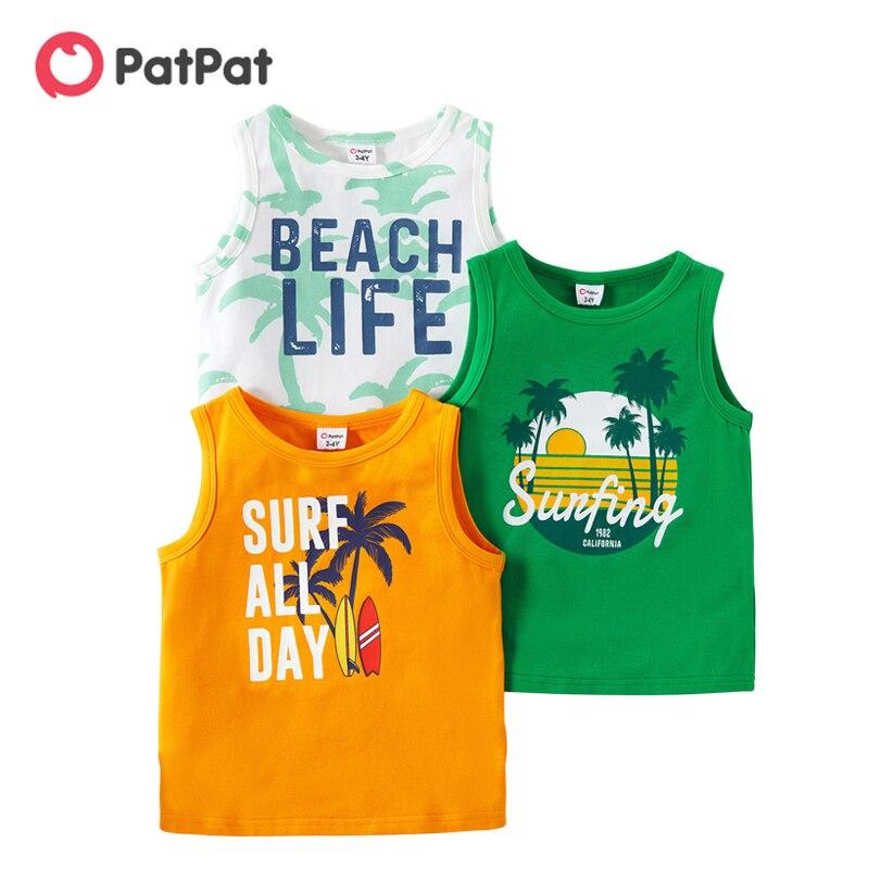 PatPat новый летний комплект из 3 предметов для маленьких мальчиков, для отдыха с надписью с рисунком в виде кокосового дерева из плотной шерсти для От 3 до 6 лет одежда без рукавов для мальчиков хлопковая футболка, одежда для детей|Футболки для мальчиков| | АлиЭкспресс