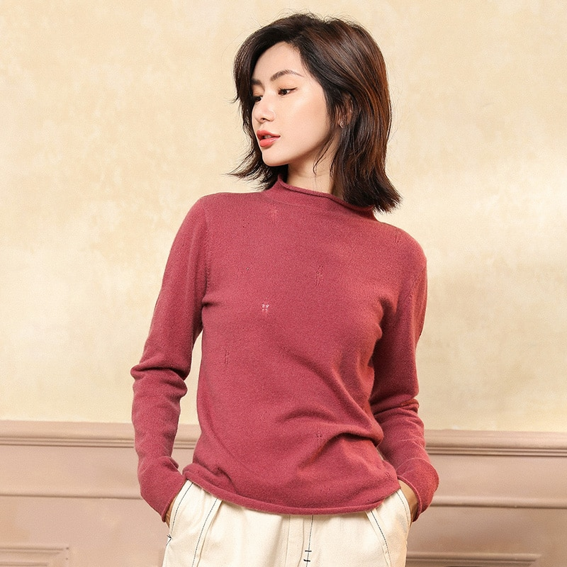 Septass camisola feminina 100% cabra cashmere gola alta pullovers outono inverno elegante quente feminino manga longa malha jumper