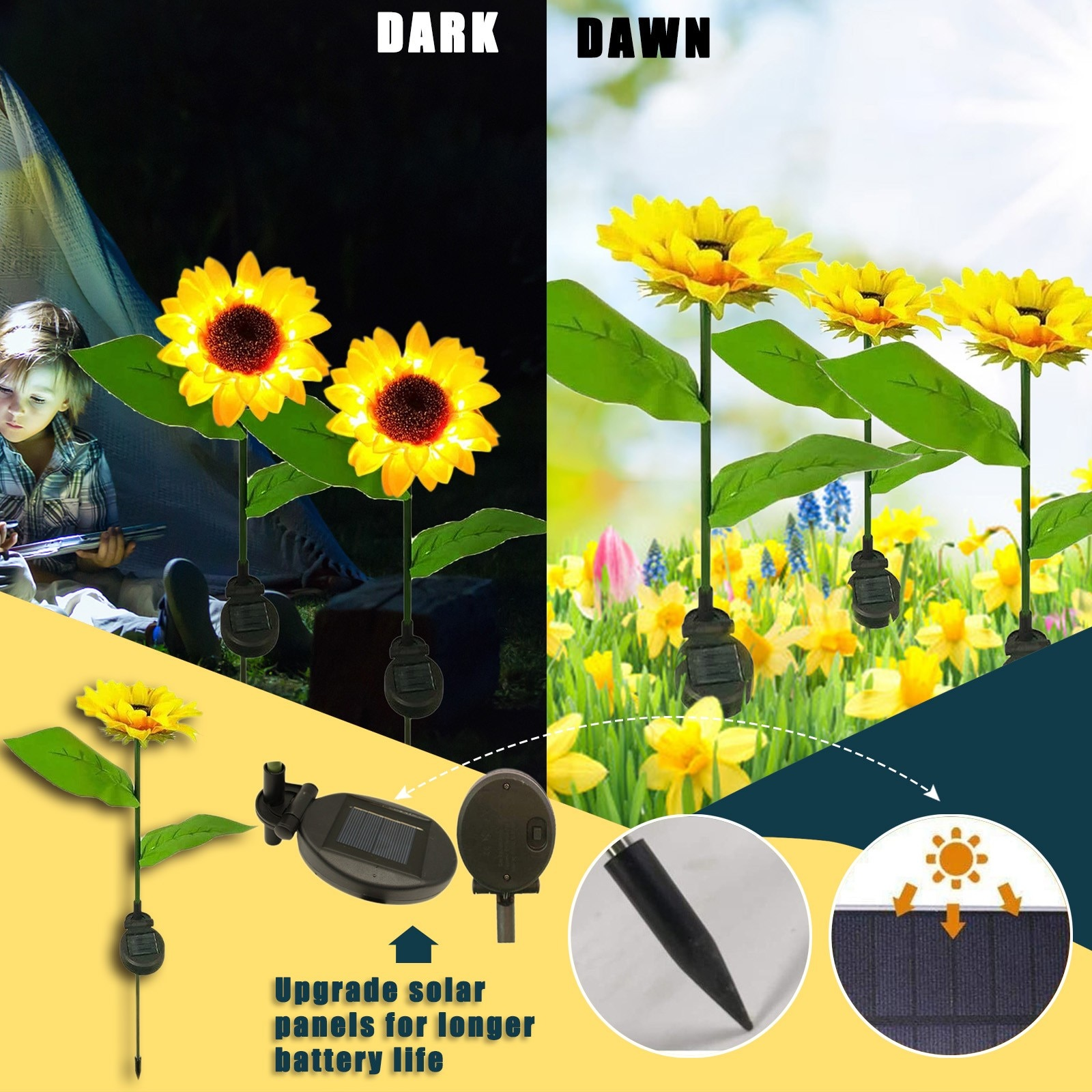 Luz Solar de girasol para exteriores, lámpara Led Solar de jardín, de...
