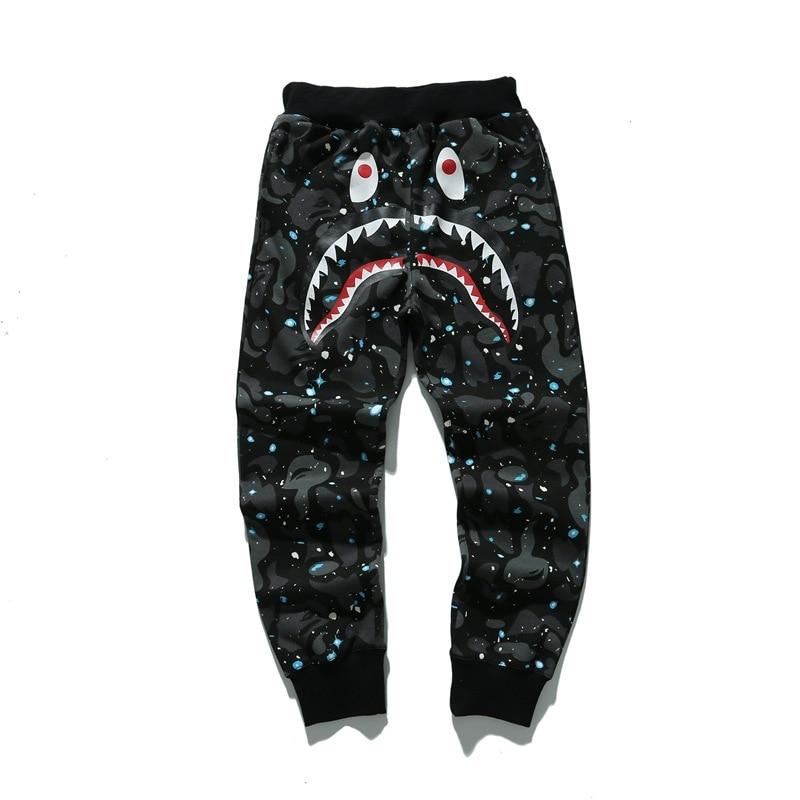 Камуфляж Звездная ночь Dunne Bape Акула Slacksstreetwear Broek Heren джоггеры броки джоггеры Беременные джоггеры