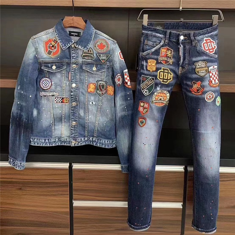 2021 Europe, America and Italy DSQ new denim jacket men's suit Dsquared2 slim-fit badge jacket and high-end jeans D2 casual suit