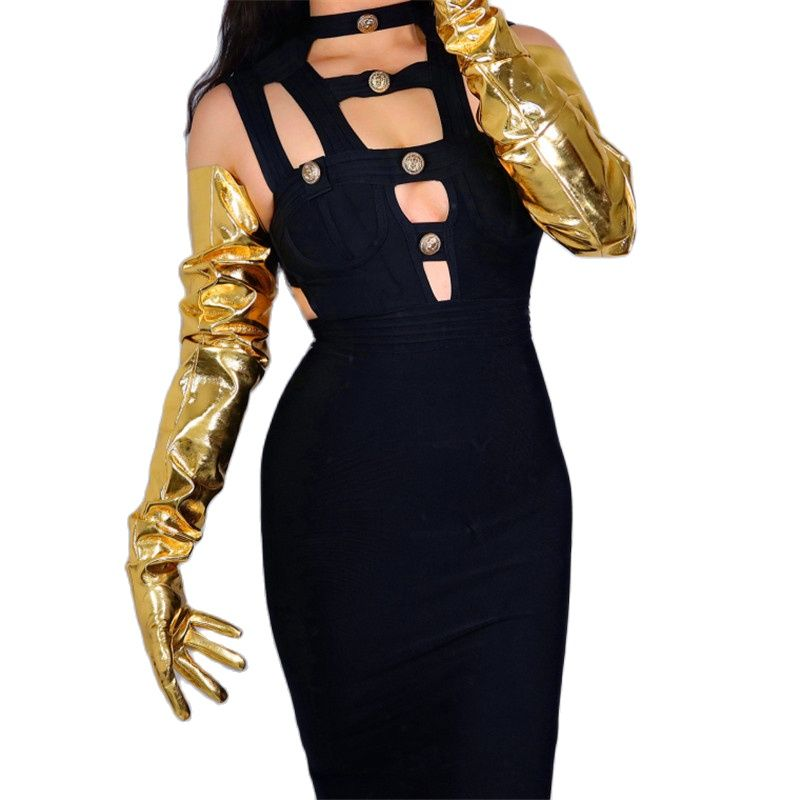 LATEX LONG GLOVES Faux Patent Leather 35 90cm XL Big Puff Sleeves Unisex Gold Women Long Leather Gloves WPU209 long gloves 38cm big sleeves puff sleeves simulation leather imitation leather black unisex dxpu02