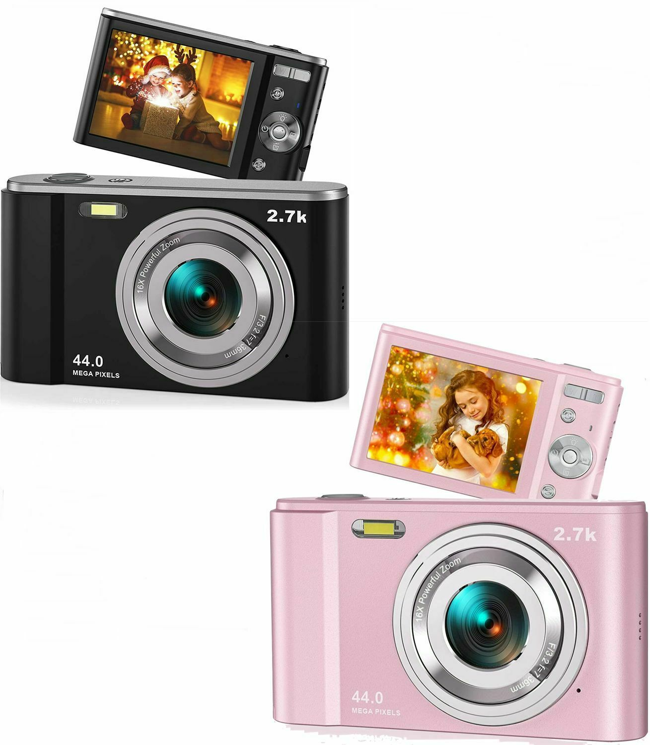 44MP Small Digital Camera 2.7K 2.88inch IPS Screen 16X Zoom Face Detection Vlogging Camera for Photography Beginners Kids