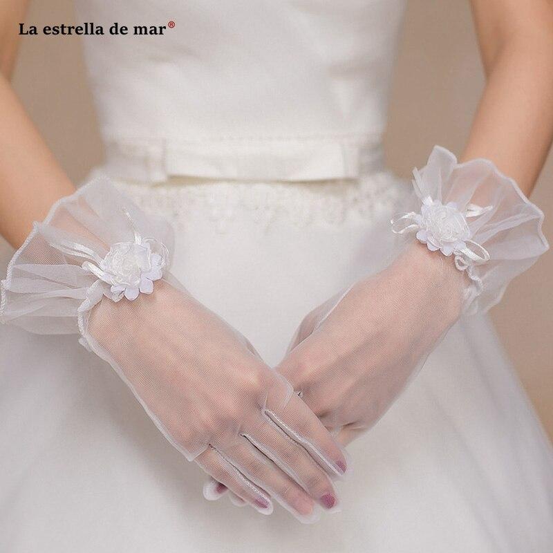 Guantes de novia transparentes de marfil, nuevo lazo de tul, dedo de...