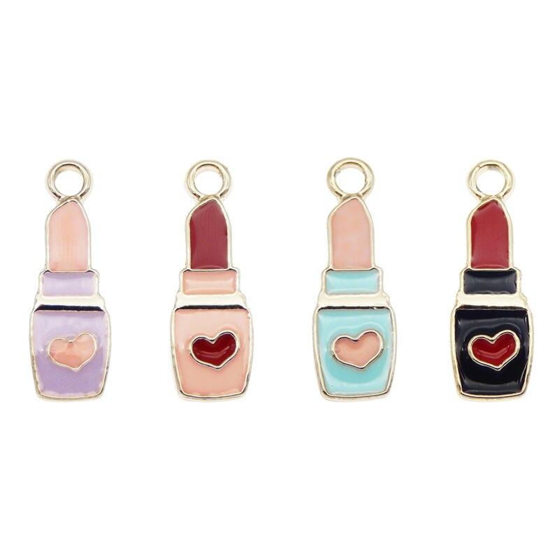 Julie Wang 8 pièces émail rouge à lèvres breloques noir rose violet bleu coeur rouge à lèvres en alliage cosmétique Bracelet fabrication de bijoux accessoire