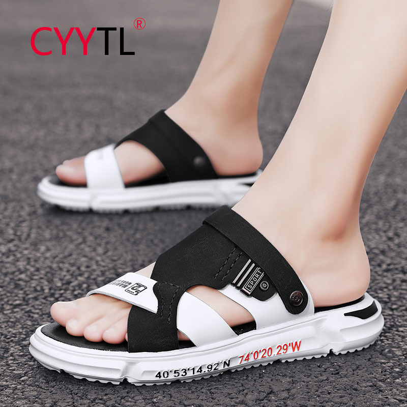 CYYTL Summer Men's Casual Shoes Leather Sandals Open Toe Outdoor Beach Slippers Leisure Flat Breathable Home Slides Pantoufle