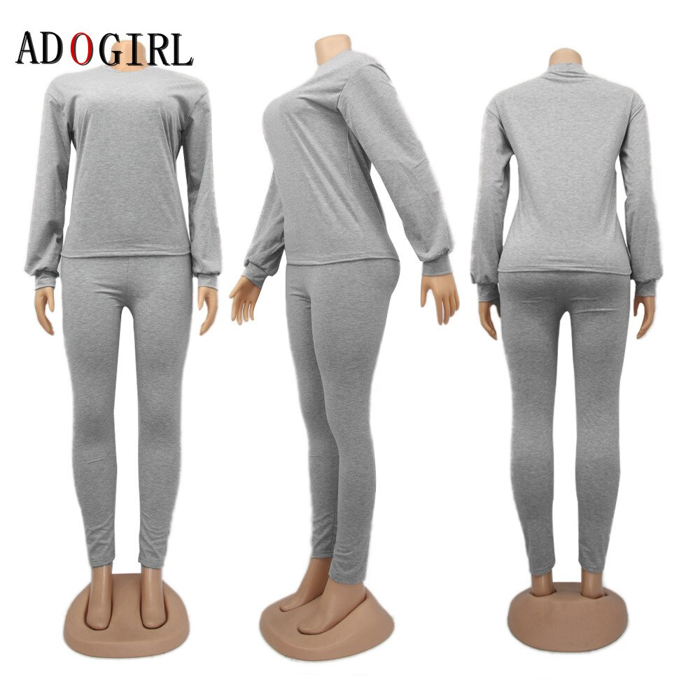 Casual Women Solid Tracksuit Long Sleeve 2 Piece Set Outfis Top And Pants Suit  Jogging Femme Matching Sets 10 Colour 2XL cloth