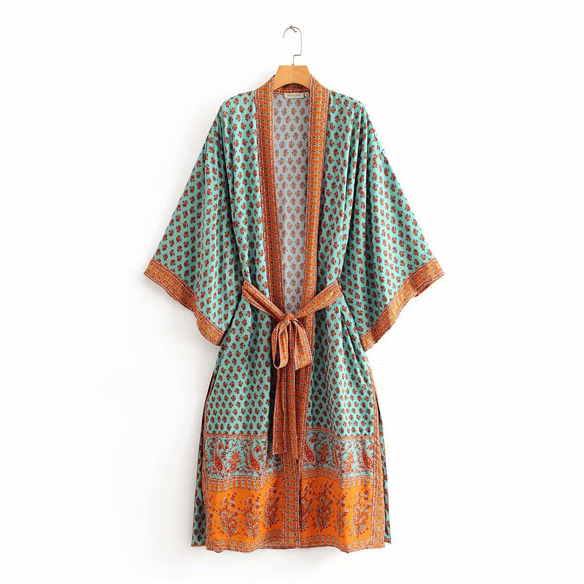 Robe dété 2020 vintage grande taille rose cajou Kimono zaraing femmes femmes châle Cardigan robe gainage vadiming Wdd60289